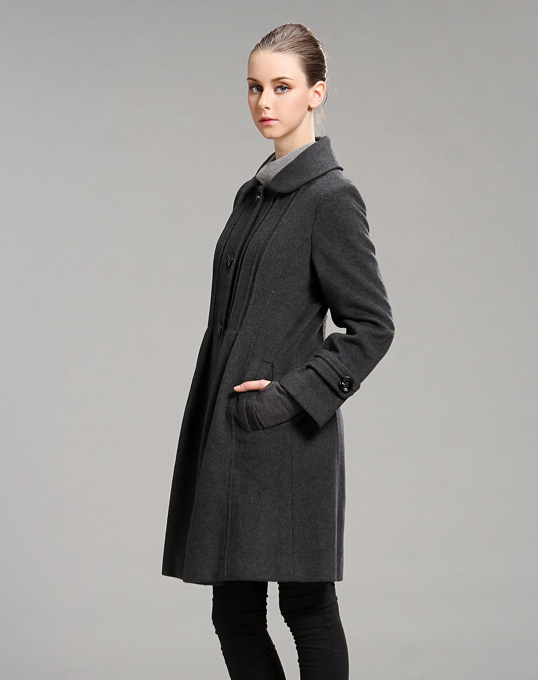 深灰色经典百搭长袖毛呢大衣