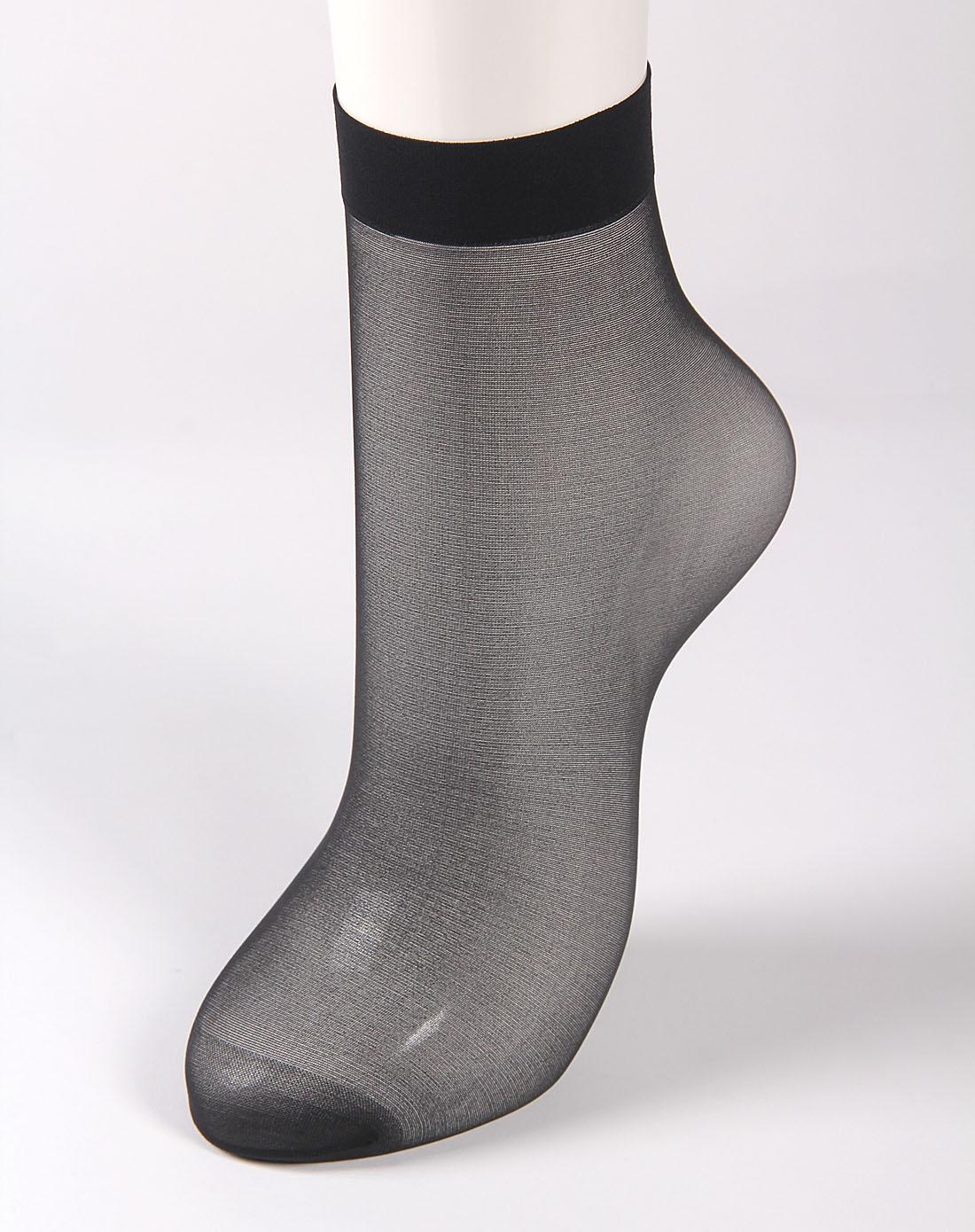寓美女款黑色脚尖透明苞芯丝短袜6双装