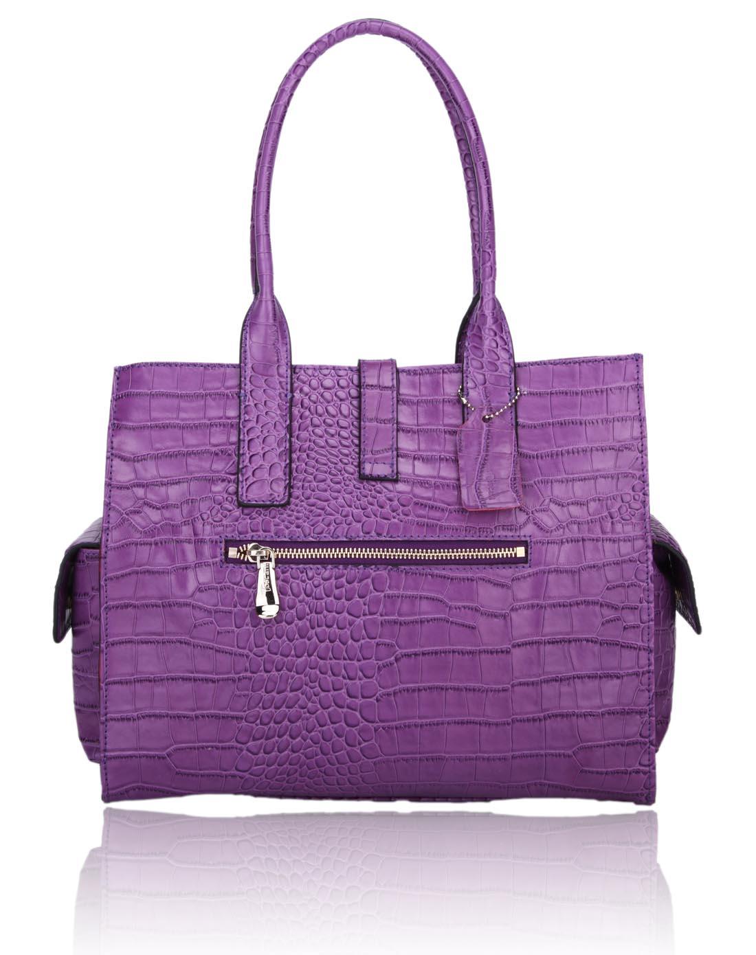toscani女款紫色鳄鱼纹单肩牛皮包mt