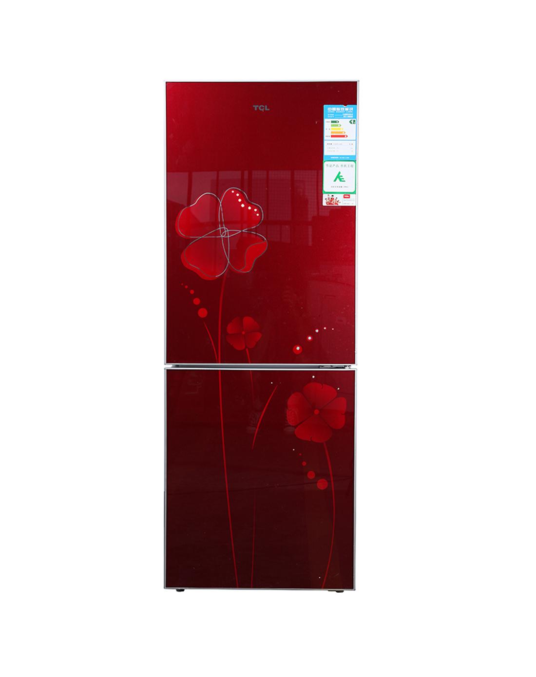 > 钢化玻璃面板 冷藏冷冻冰箱 双门式 直冷
