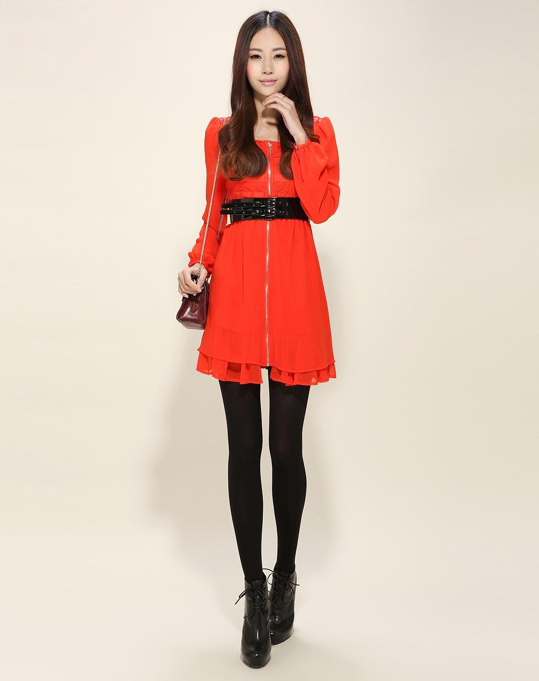优雅拼蕾丝桔红色气质长袖连衣裙