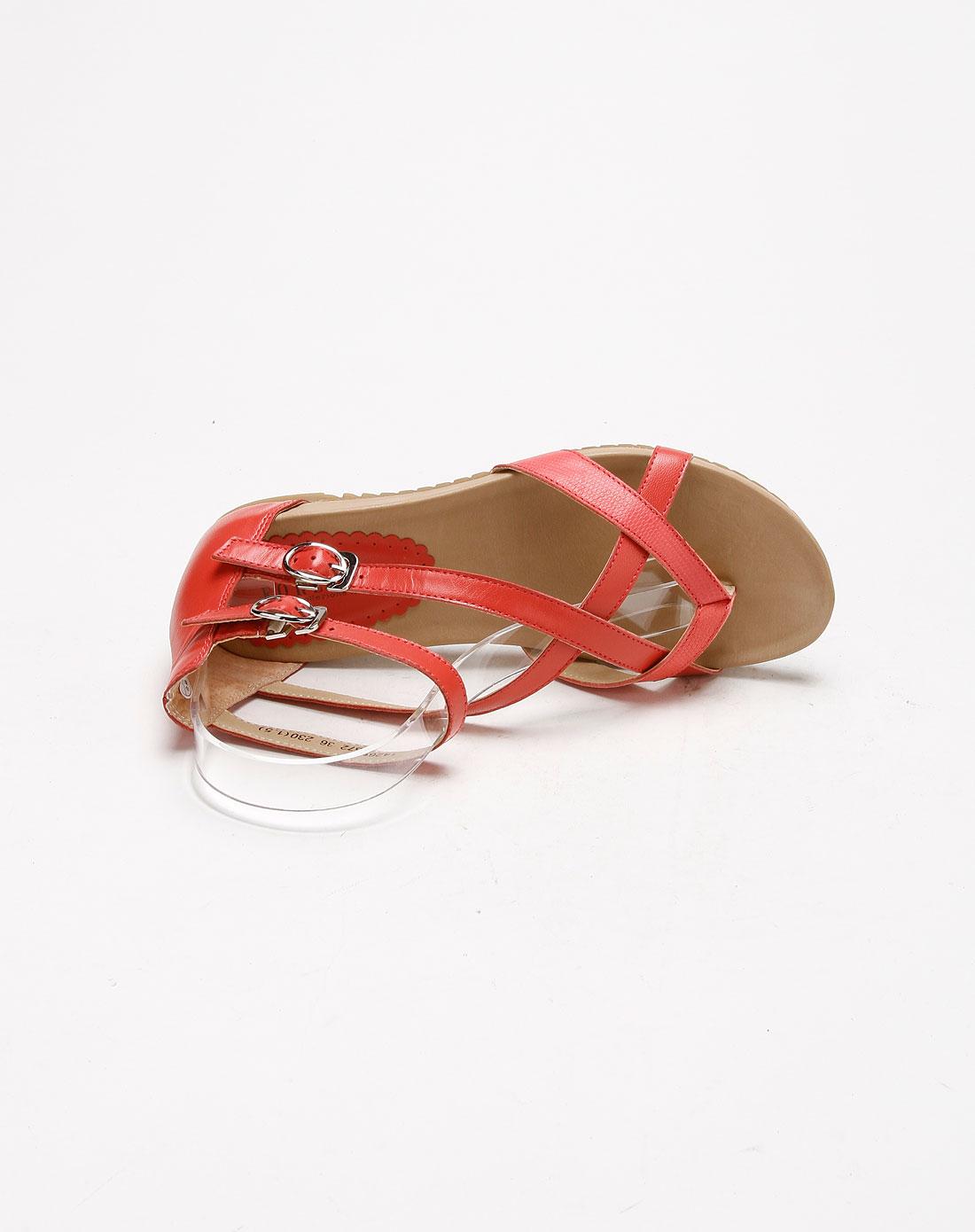 奥卡索 forleria 红色羊皮平跟女凉鞋