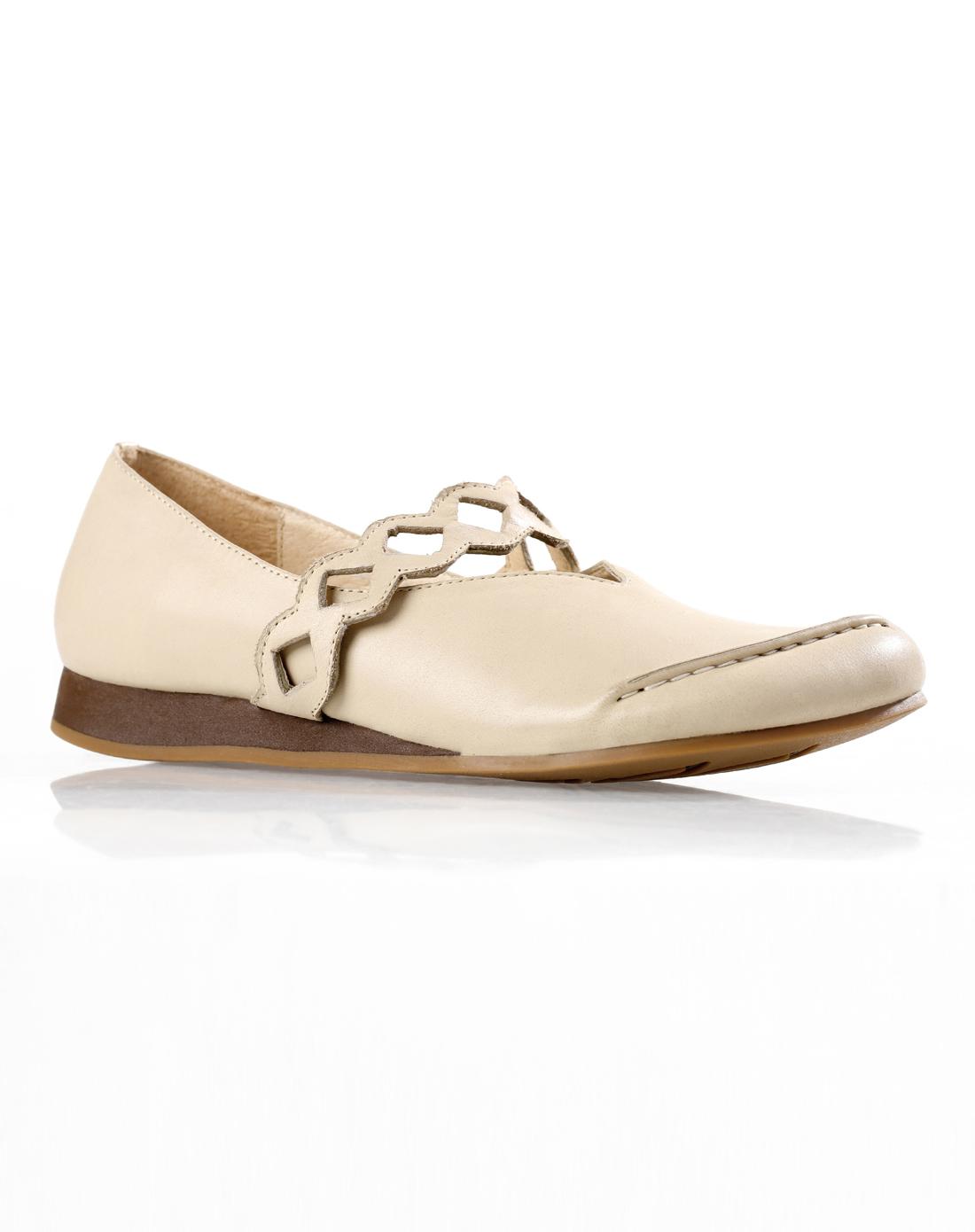 艾米amii米白色气质简约扁头百搭皮鞋11240602113