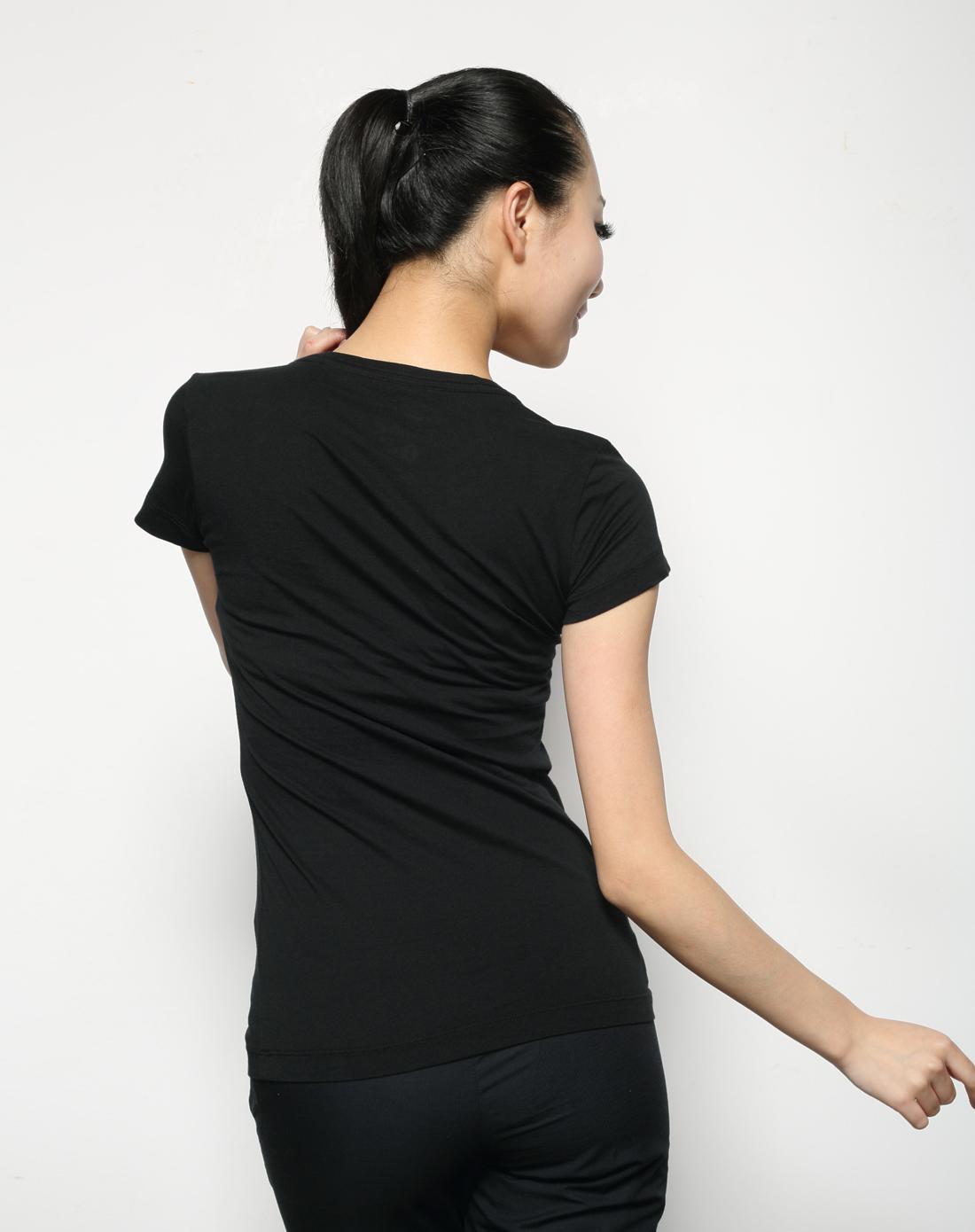 耐克nike女子黑色短袖t恤417301-010