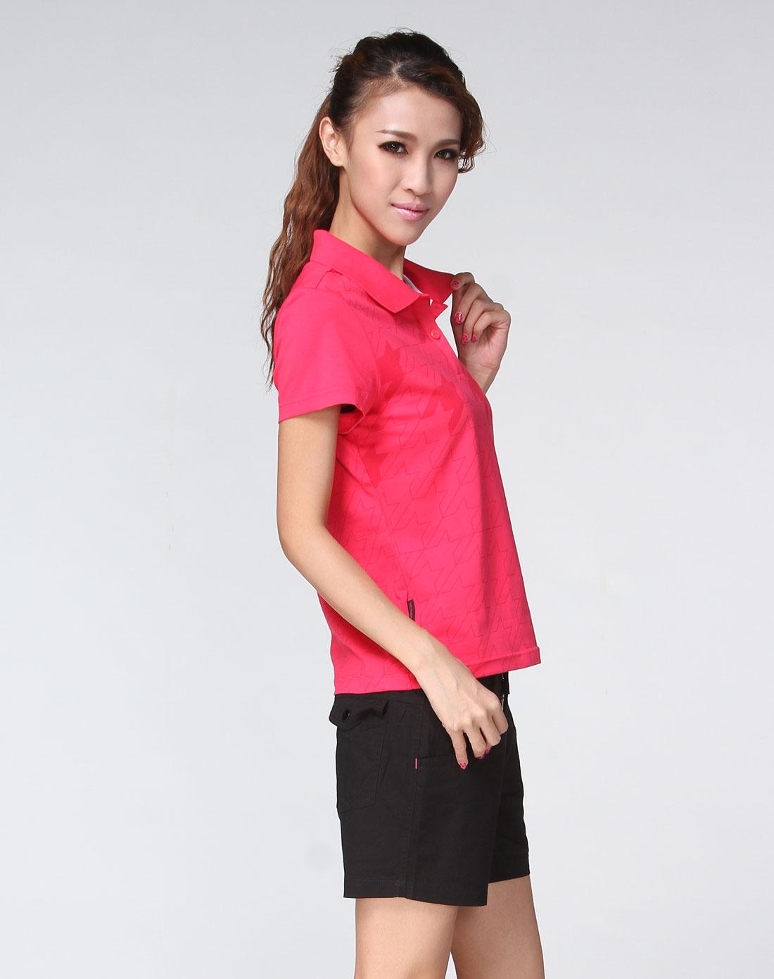 女款玫红色运动休闲翻领短袖t恤