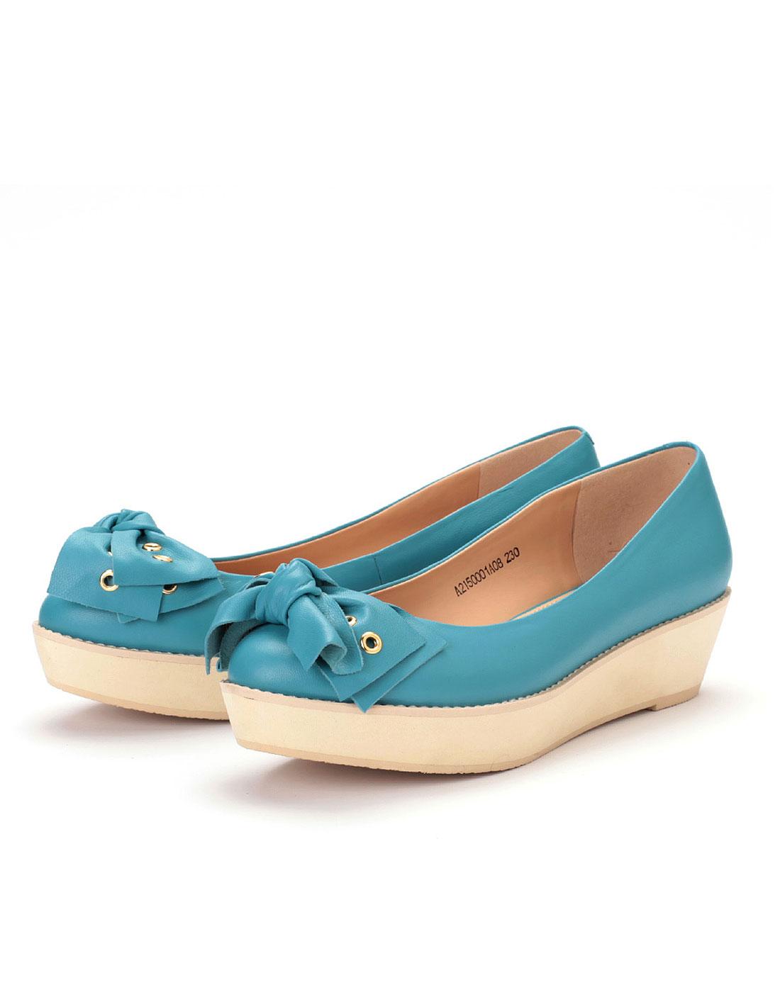 蓝色婉约蝴蝶结中跟单鞋
