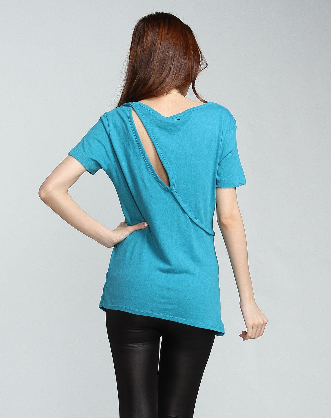 女款后背镂空孔雀蓝色短袖t恤
