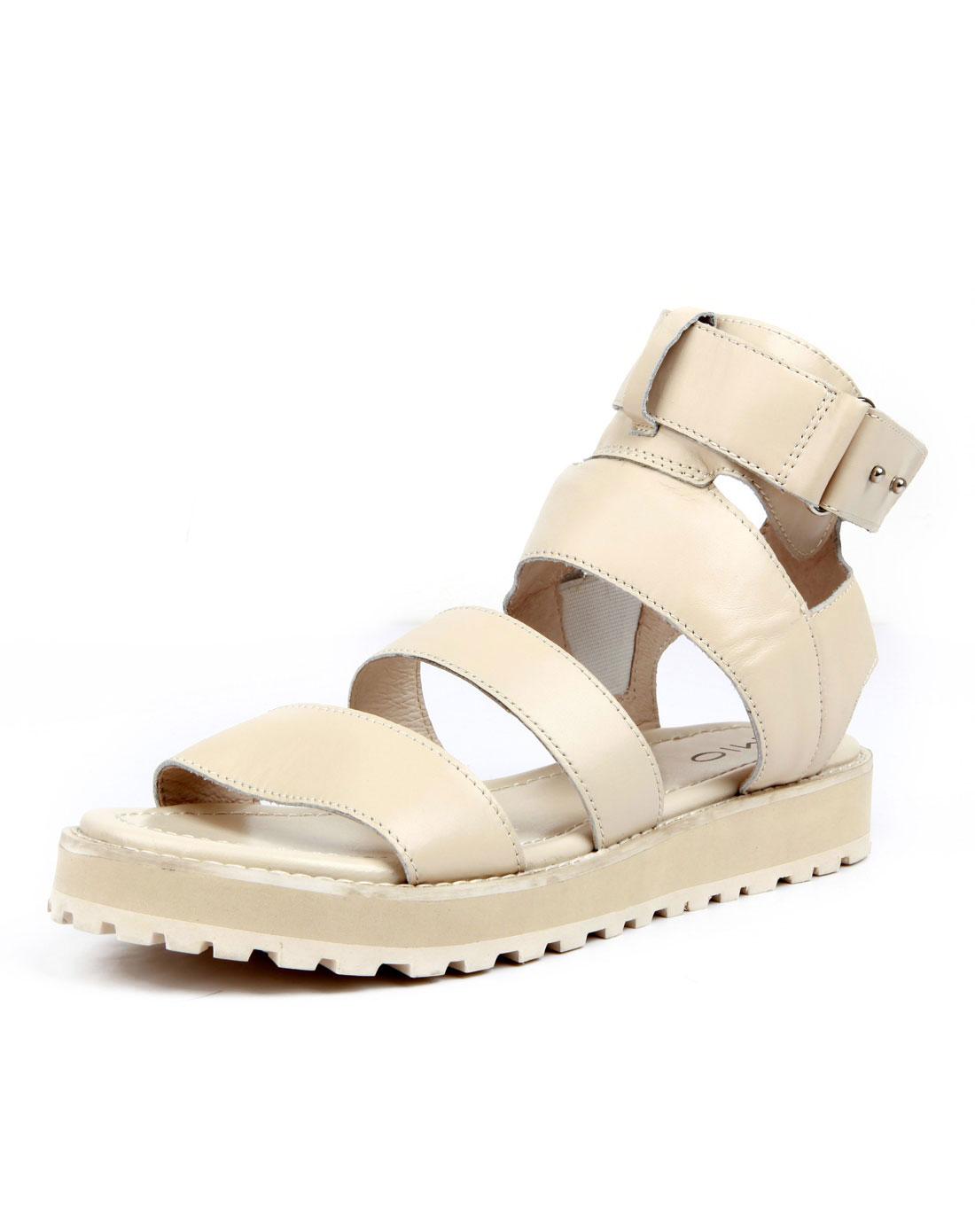 米奥mio白色罗马条带低跟凉鞋m123101002b03