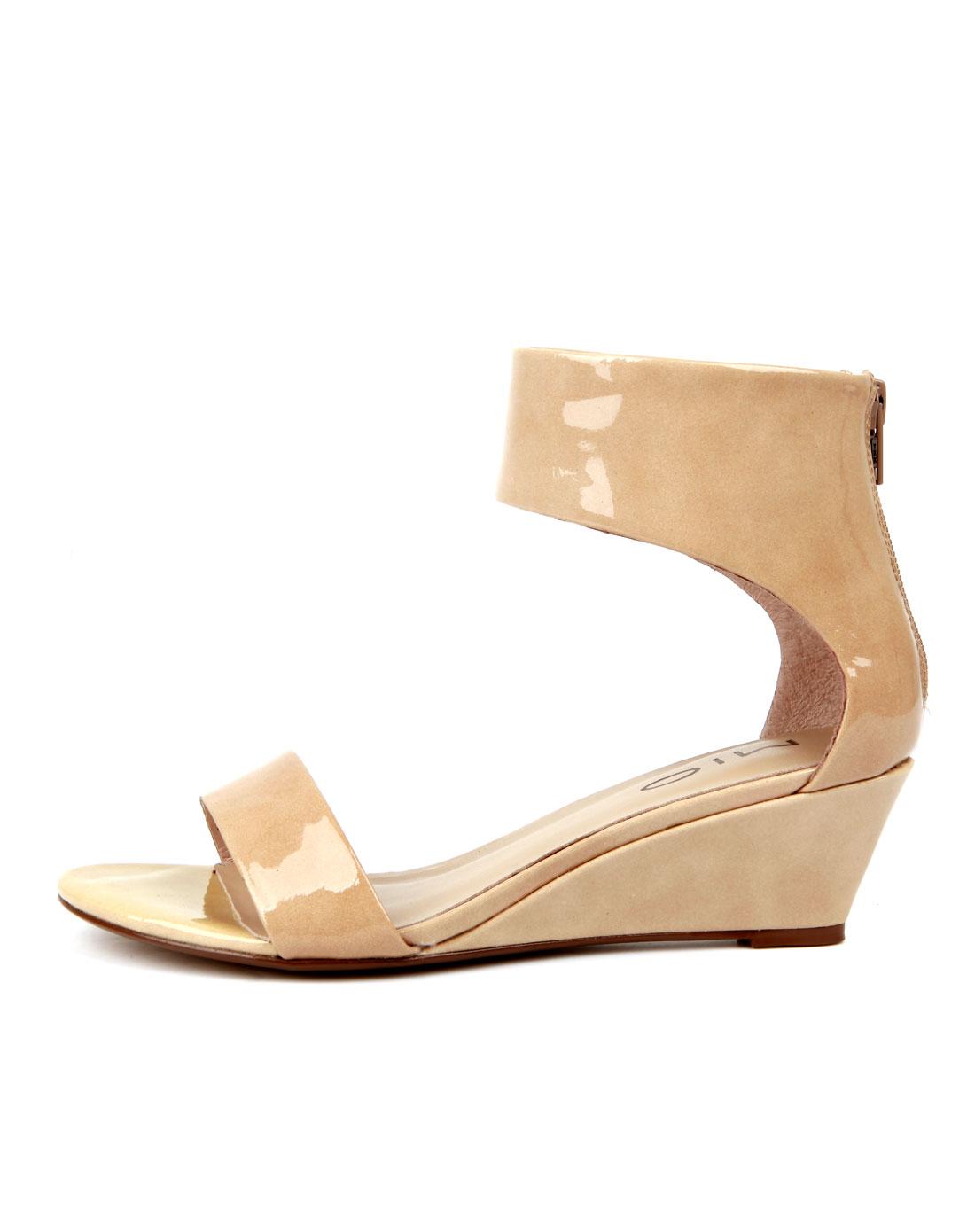 米奥mio裸色素面小坡跟中跟凉鞋m123160801a21