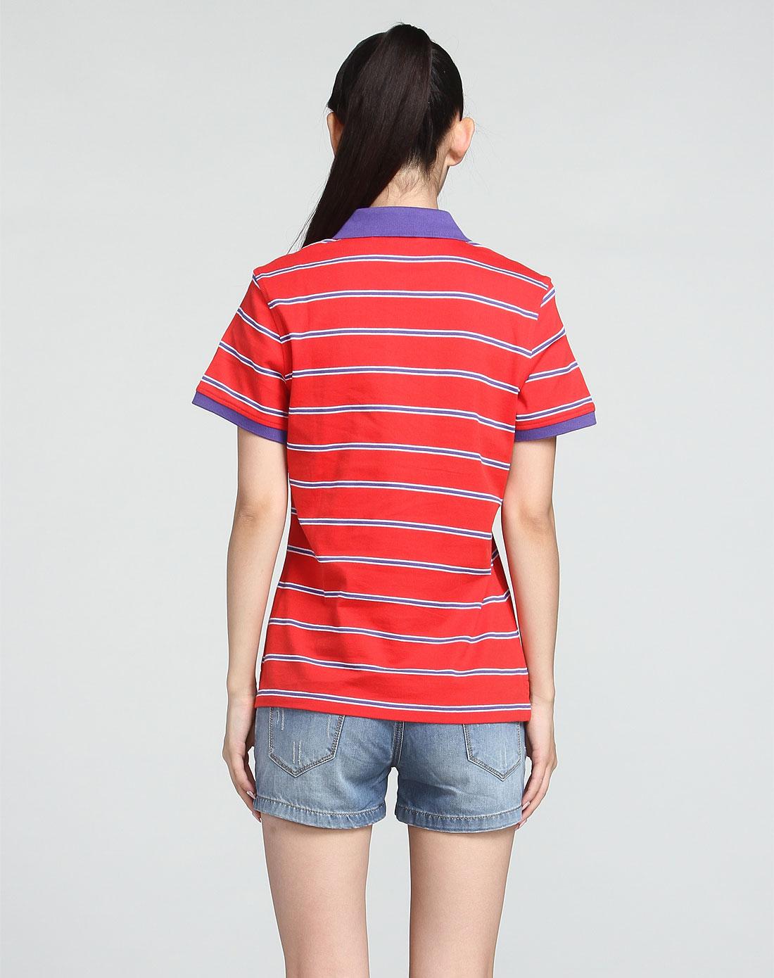 cardin男女装女款红色时尚条纹短袖