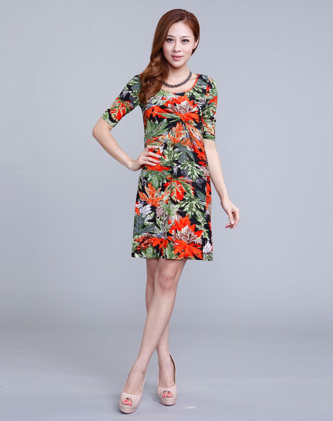 美莎帕mesappas橙色花纹时尚紧身包臀连衣裙18c-ma