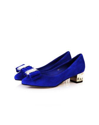 柯玛妮克komanic蓝色水钻蝴蝶结粗跟单鞋k37709-400