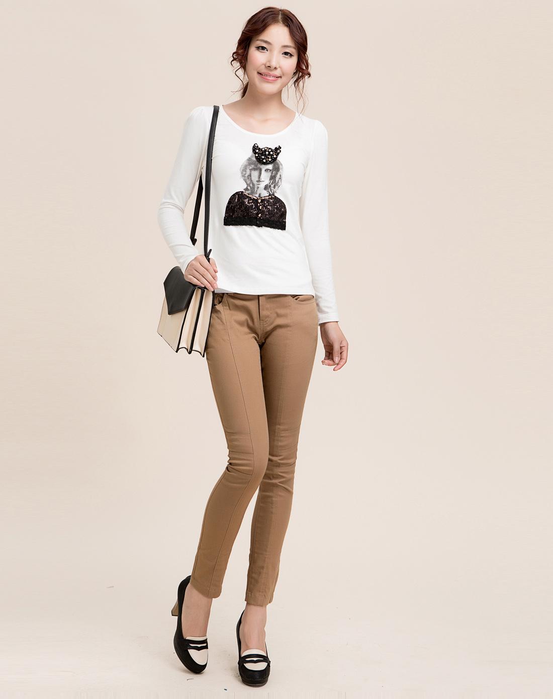 红袖hopeshow白色美女图像长袖t恤h9350723白色